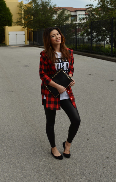 Black Plaid Shirt with Leggings