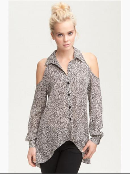 064aee9550b2 Blouse Top Shirt Collar Button Up Blouse Shoulderless Shoulder