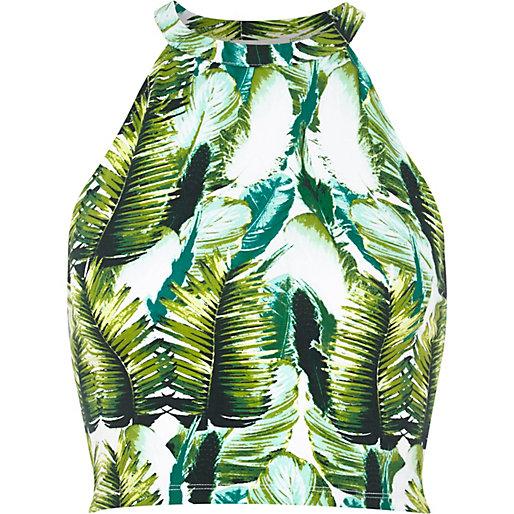 Green tropical palm print crop top - crop tops / bralets / bandeau tops - tops - women