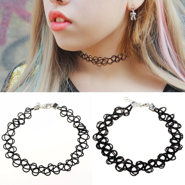 80s 90s Vintage Tattoo Choker Stretch Necklace Quality Black Gothic Punk Elastic