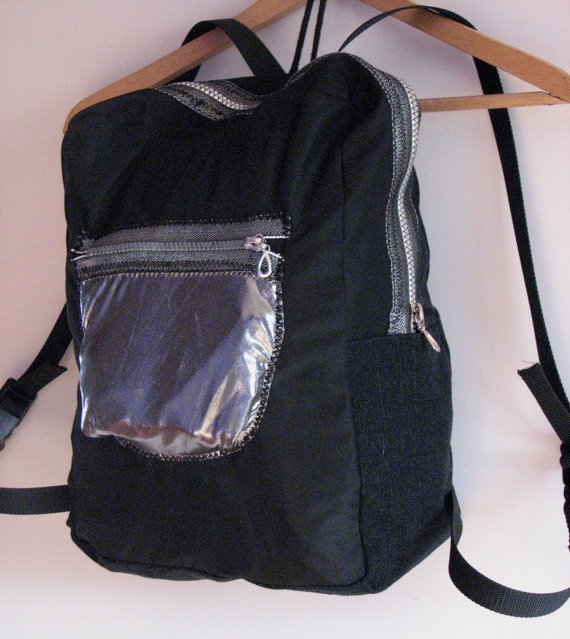 Holographic black silver backpack