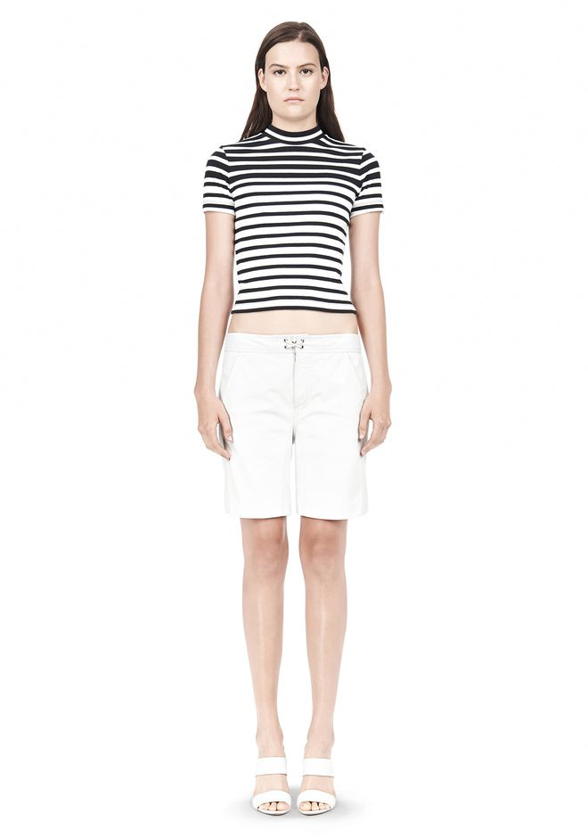 COMPACT COTTON ENGINEERED RIB CROPPED TEE - Crewnecks Women - Alexander Wang Online Store