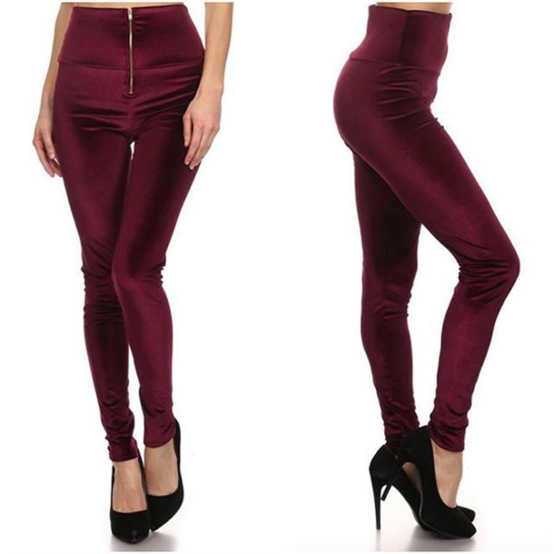 e2ea1ec5318cbe leggings boutique beau monde velvet legging velvet crushed velvet high  waisted pants high waisted leggings burgundy