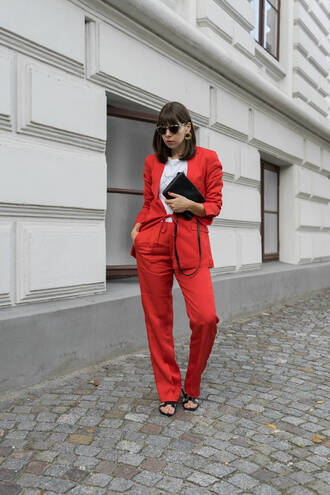 jacket tumblr power suit work outfits matching set two piece pantsuits pants red pants red blazer blazer shoes flat sandals t-shirt white t-shirt bag sunglasses