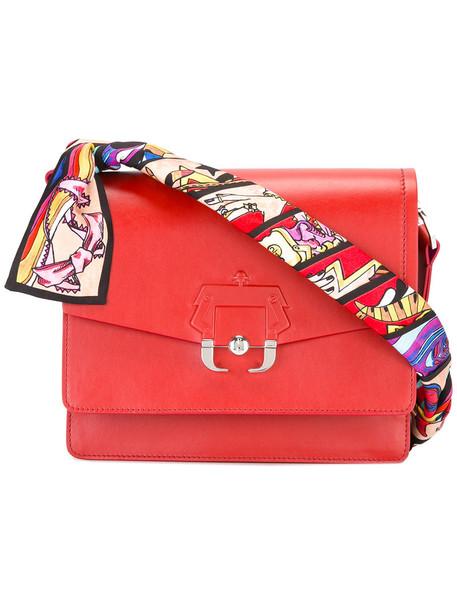 women bag shoulder bag leather silk red