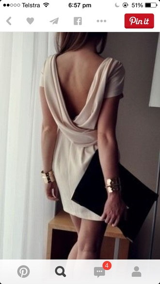 dress cream dress classy open back dresses