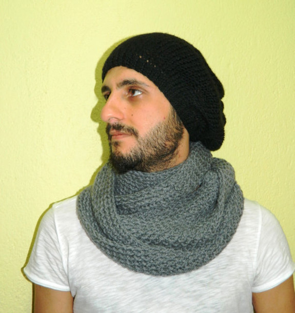 Knitting Pattern For Mens Infinity Scarf : Scarf: grey scarf, knitted scarf, scarves, men scarf, women scarf, unisex, gu...