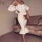 Bardot ruffle fluted midi bandage dress white m