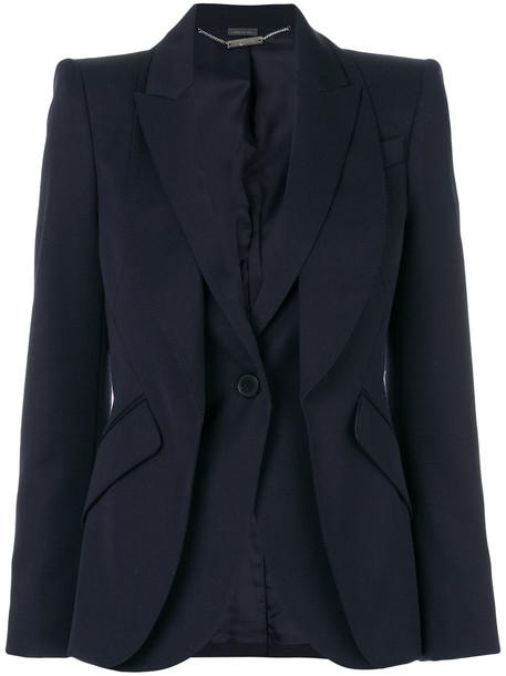Alexander Mcqueen blazer women layered blue wool jacket