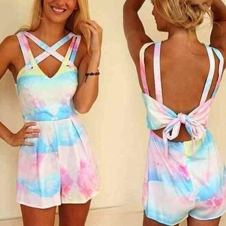 jumpsuit rainbow jumpsuit tie-dye print strap jumpsuit