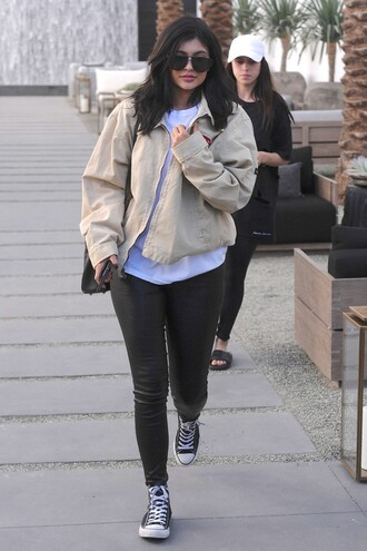 leggings jacket spring jacket kylie jenner streetstyle sneakers kardashians coat