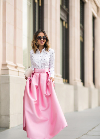 lace and locks blogger pink skirt midi skirt white shirt ann taylor