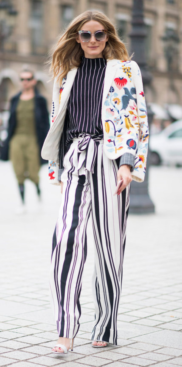 pants stripes striped pants olivia palermo blazer blouse blogger fashion week 2016 jacket