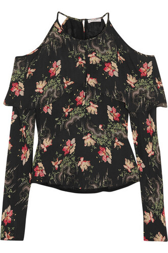 blouse cold floral print black silk top