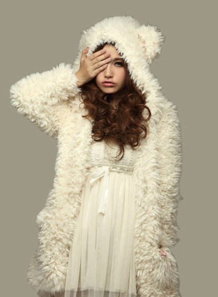 fourrure jacket white foururure veste fur vest