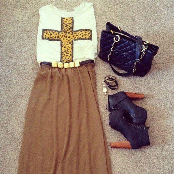 croix t-shirt bag top long skirt jeffrey campbell chanel bag leopard print beautiful skirt shoes