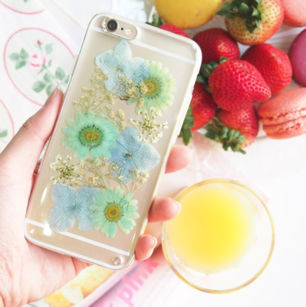 Phone Cover Summer Handcraft Hydrangea Daisy Blue Flowers Floral Handmade Lovely Case Pressed