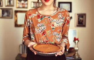 blouse floral roses thanksgiving colorful orange pattern flowers vintage