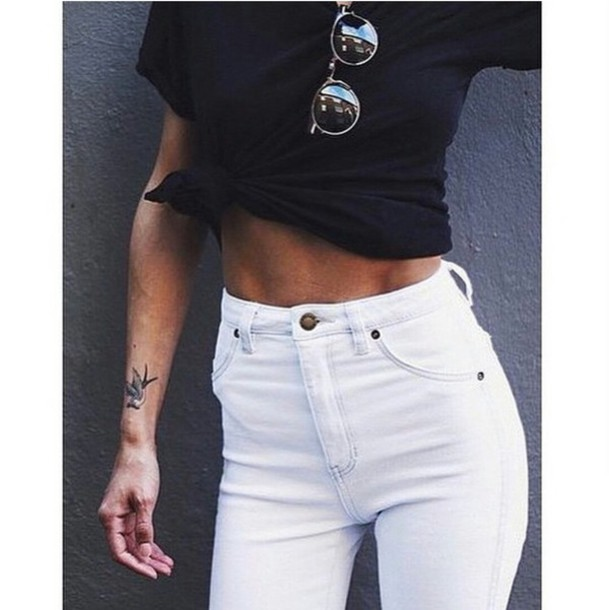 Jeans: high waisted jeans, high waisted, white skinny jeans, white ...