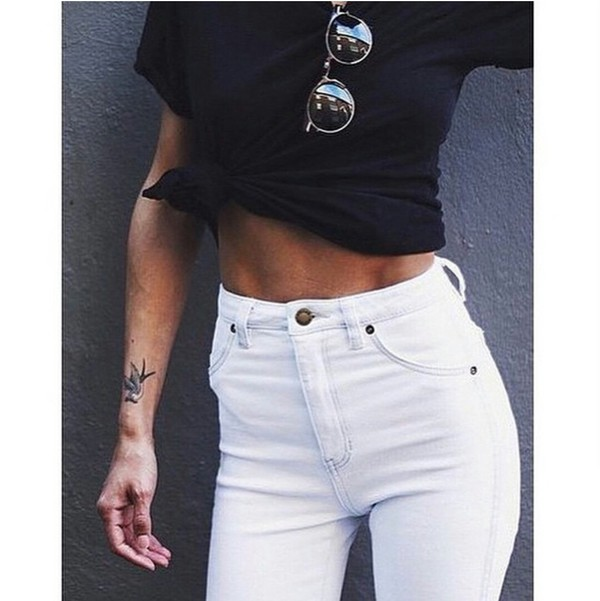 jeans high waisted jeans high waisted white skinny jeans white jeans black top top sunglasses casual pretty cute stylish style style trendy trendy trendy outfit idea fashion inspo fashion inspo on point clothing t-shirt tshirt. bag instagram fashion love black crop top