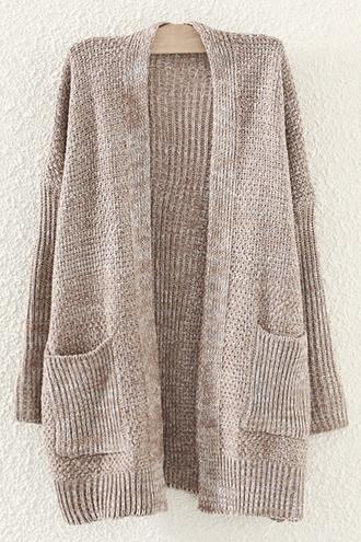 cardigan zaful beige beige cardigan long sleeve cardigan knitwear knitted cardigan