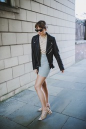 jacket,leather jacket,black jacket,top,skirt,shoes,bag