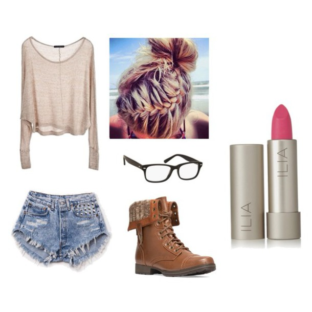 make-up cute shirt nerd glasses sunglasses sweater hairstyles