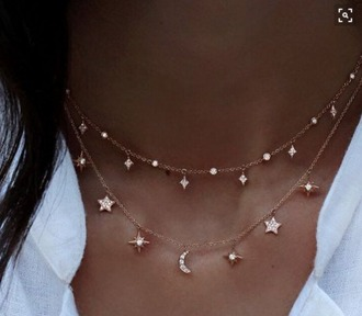 jewels necklace stars moon jewelry layered sparkle gold small pinterest