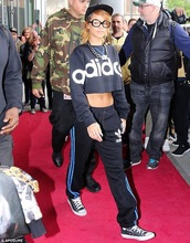 shirt,clothes,rihanna,celebrity,outfit,adidas,crop tops
