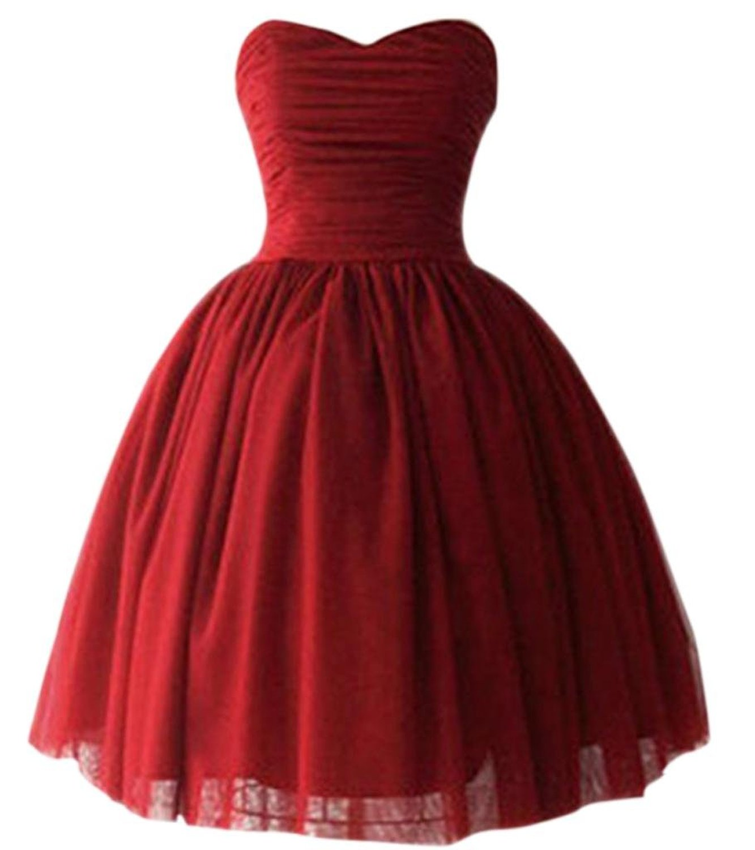 Prettydresses women's short burgundy wedding party dress bridesmaid dresses at amazon women's clothing store: