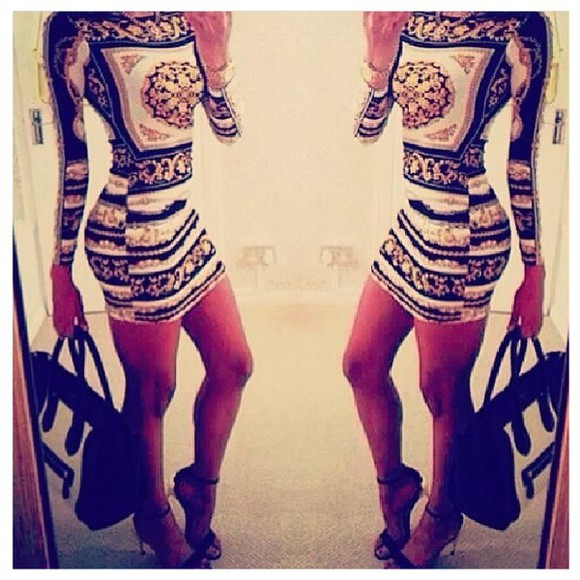 pattern long sleeved bodycon dress