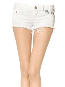 LUISAVIAROMA.COM - TRUE RELIGION - JOEY STUDDED & FRAYED DENIM SHORTS