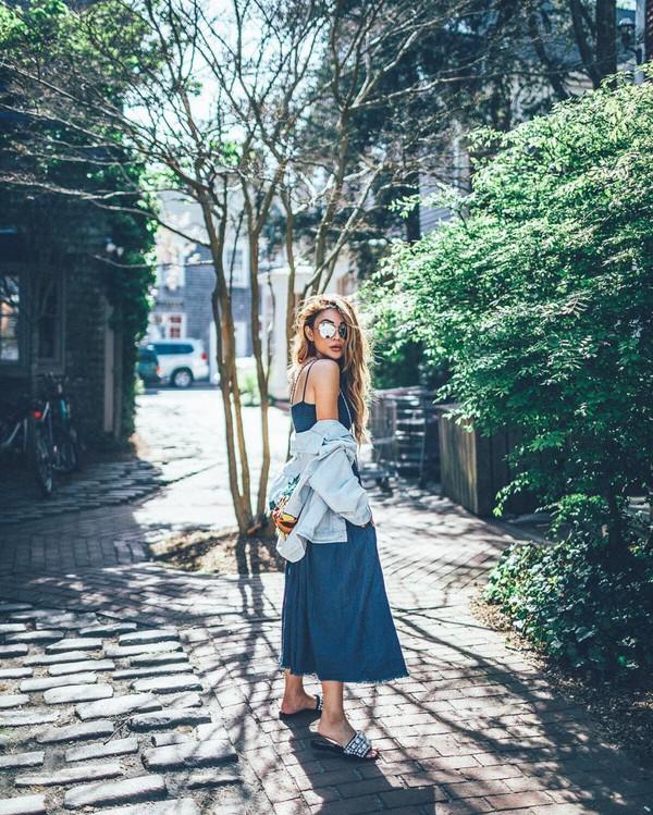 dress blue dress long dress coat jacket sunglasses shoes bag