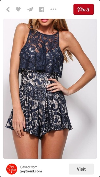 romper lace dress lace romper dress cute dress summer dress two-piece outfit style fashion lace navy girly summer spring rosewholesale.com top rose wholesale crop tops