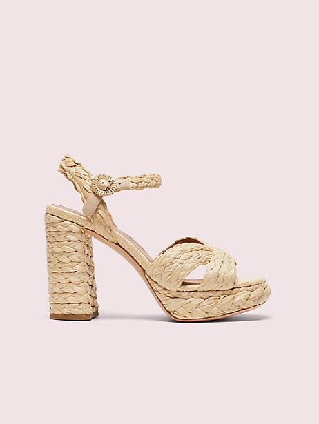 Kate Spade Disco Raffia Platform Sandals, Natural - 5.5