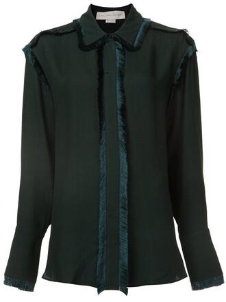 shirt tassel green top