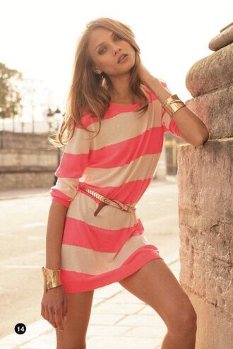 dress pink coral peach white off white belt bangle bracelets earrings rolled sleeves scoop neck stripes striped dress