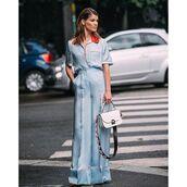 pants,tumblr,wide-leg pants,blue pants,blue top,matching set,bag,white bag,streetstyle,pajama style