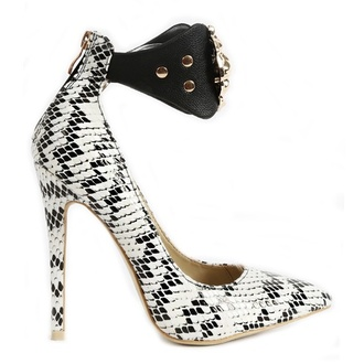 shoes black and white heels lion medallion snake print party shoes