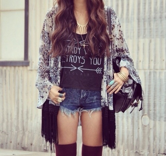 kimono top graphic tee hippie shirt high wasted shorts t-shirt