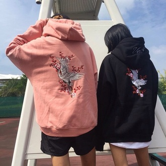 jacket pink black birds sweatshirt oversized street streetstyle seoul tokyo embroidered sweater dragons cranes asian peach
