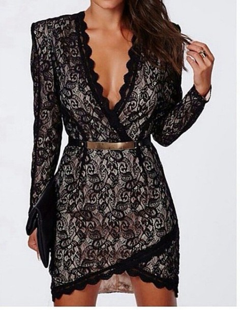 dress black lace lace fashion black fall outfits style party belt long sleeves
