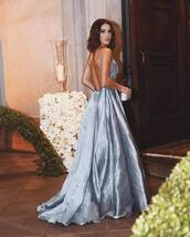 dress,tumblr,blue dress,metallic,metallic dress,open back,open back dresses,backless,backless dress,ball gown dress,long dress,maxi dress,prom dress,long prom dress,satin dress,satin