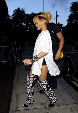 shoes rihanna boots shorts white black accessories