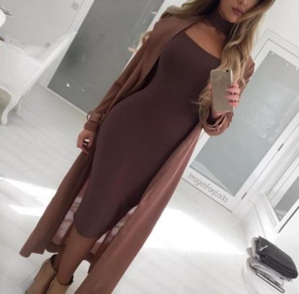 540d8a226022 dress brown bodycon dress classy brown dress midi dress choker necklace  bodycon midi party dress sexy