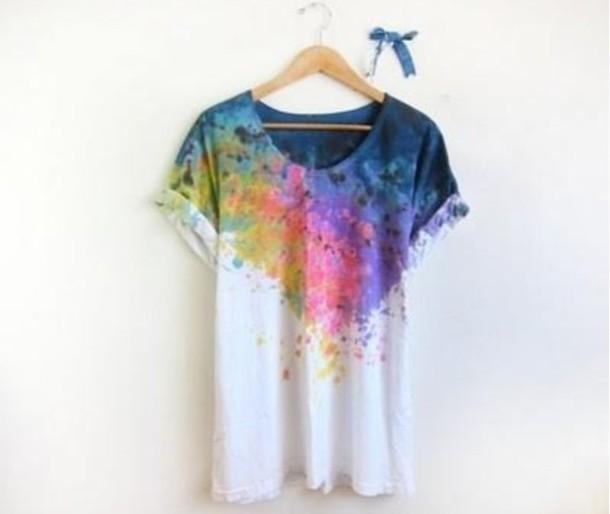 shirt paint paint rainbow colorful artist splatter oversized shirt. Black Bedroom Furniture Sets. Home Design Ideas