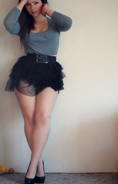 Skirt Black Short Skirt Flowy Cute Curvy Curvy Belt