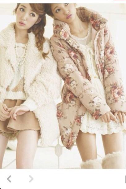 jacket white brown beige flowers kawaii cute fashion winter outfits shoes liz lisa skirt cardigan coat blouse socks