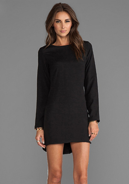 dress black dress long sleeves black shift dress birthday gift