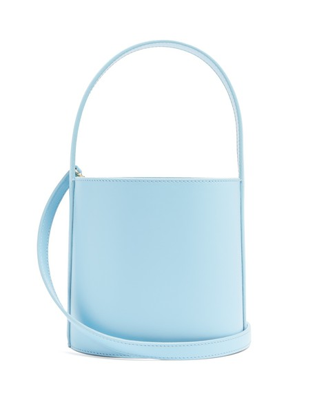 bag bucket bag leather light blue light blue